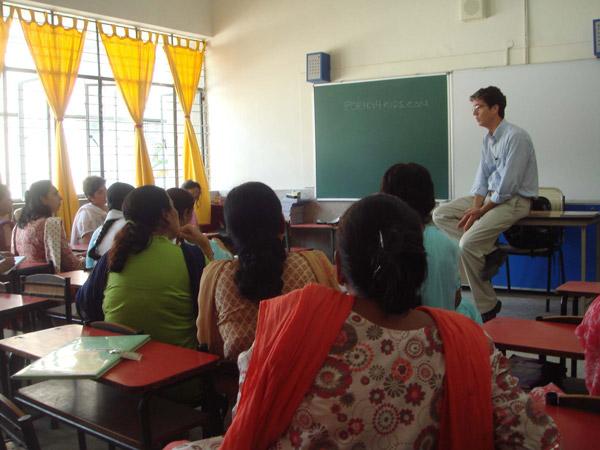 Addressing the teachers at Somerville School, Noida